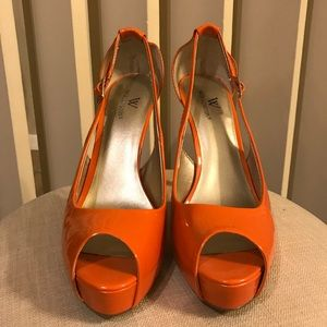 Orange open toe heels
